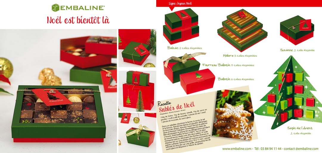 Collection de packaging, emballages, boîtes de Noël pour chocolatier